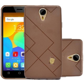 ECS Soft Matte Finish Line Back Case Cover For Micromax Bharat 4 Q440 - Brown