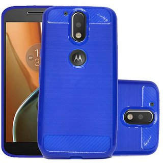 ECS Soft Matte Finish Line Back Case Cover For Motorola Moto G4- dark blue