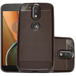 ECS Soft Matte Finish Line Back Case Cover For Motorola Moto G4- brown