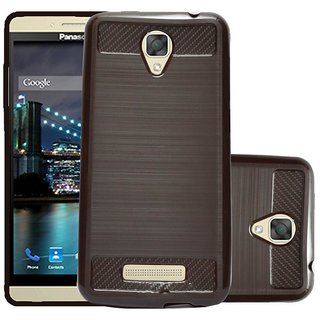 ECS Soft Matte Finish Line Back Case Cover For Panasonic Eluga I2 Activ - Brown