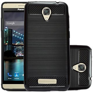 ECS Soft Matte Finish Line Back Case Cover For Panasonic Eluga I2 Activ - Black
