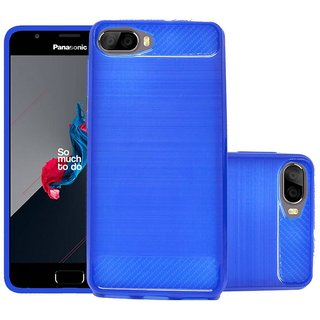 ECS Soft Matte Finish Line Back Case Cover For Panasonic Eluga Ray 500 - Dark Blue