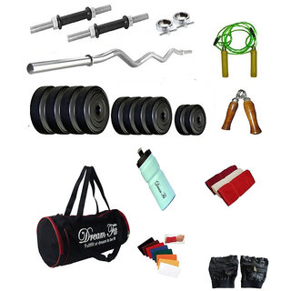 DREAMFIT 42 KG HOME GYM WITH 3ft CURL ROD , GYM BAG AND COMPLETE ACCESSORIES SET