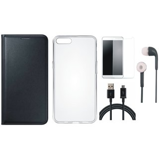 Coolpad Note 5 Leather Flip Cover with Silicon Back Cover, Earphones, Tempered Glass and USB Cable