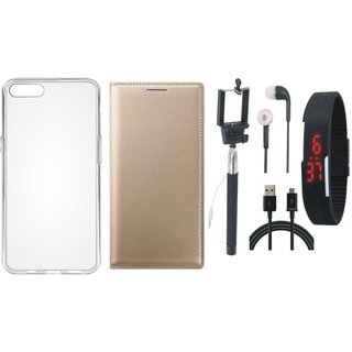 Coolpad Note 5 Leather Flip Cover with Silicon Back Cover, Selfie Stick, Digtal Watch, Earphones and USB Cable