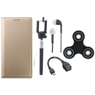 Coolpad Note 5 Leather Flip Cover with Spinner, Selfie Stick, Earphones and OTG Cable