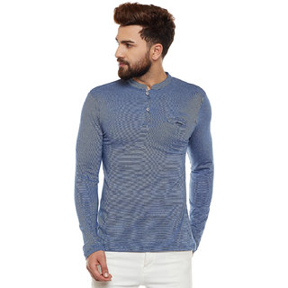 Wittrends Men's Blue Cotton Full Sleeves Ban Neck Henley T-Shirt