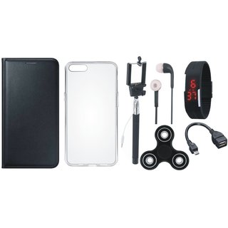 Coolpad Note 5 Stylish Cover with Spinner, Silicon Back Cover, Selfie Stick, Digtal Watch, Earphones and OTG Cable
