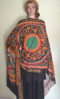Pen Kalamkari Cotton Mangalagiri Dupatta - Black with mystical design