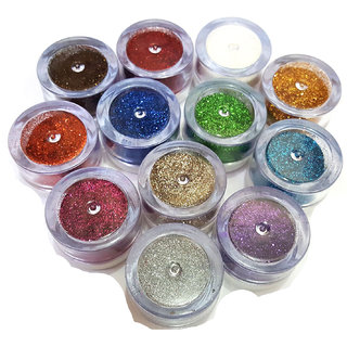 PROFESSIONAL 12 PCS BOX THICK BODY GLITTER POWDER SHIMMER DUST FOR BEAUTY QUEEN-1 ADS Kajal FREE