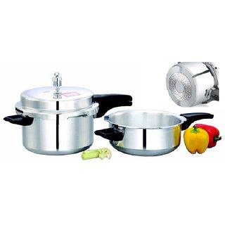 Mahavir Klassi Kichen Induction Bottom Pressure Cooker And Pressure Pan Combo With Common Lid