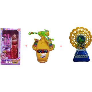 Doll and Playset With JalPari and Jhoola, Multi Color. 3 Toys (1 Doll,1 Toy JalPari and 1 Toy Jhoola)