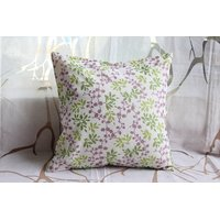 Purple  And Green Floral Cushion Cover ( Set Of 2)