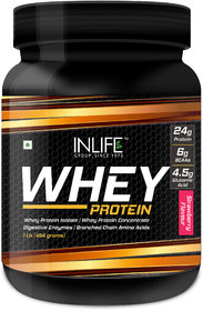 INLIFE Whey Protein Powder  Body Building Supplement(Strawberry Flavour,1 lb/(454 grams))