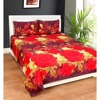 Zain Home 3D Design Double Bedsheet with 2 Pillow Covers
