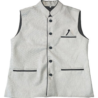 SILVER JUTE  Modi Jacket Nehru Jacket Waistcoat Half Jacket Ethnic Wear Winter Wear