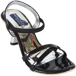 INDILEGO Black Patent Leather Kitten Heels Sandals