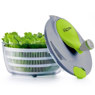 Home Puff Plastic Vegetable Cleaner with Salad Spinner - 5 Litres (Grey/Green)