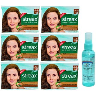 Streax Cream Hair Colour 7.3 Golden Blonde 6 Pcs and 1 Pc Pink Root Hair Serum Pack of 7