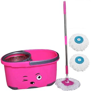 Skyclean Multi-Color Wheel Mop With Twist Mop Stick