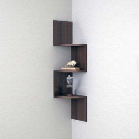 sunshinewood wooden coner zig zig wall shelf rack - brown no. of shelves 3