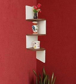 sunshinewood 3 shelves brown and white zig zig wall shelf coner - brown . white