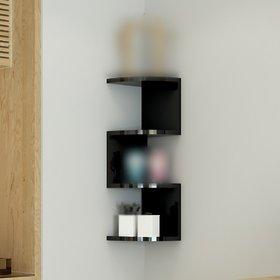 sunshinewood 3d coner black zig-zig shaped wall shelf mount - black