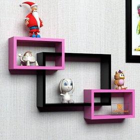 sunshinewood storage wall shelf interscting wall shelf rack - 3 black -pink