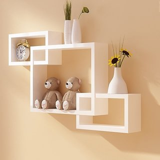 Sunshinewood Wooden Wall Shelf Rack White Interscting Set 3