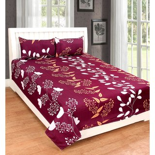 Angel homes Cotton 3D Printed 1 Double  Bed Sheet With 2 Pillow Covers