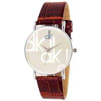DK Boys HRV Leather Strap Dk Wrist Watch With White Dia