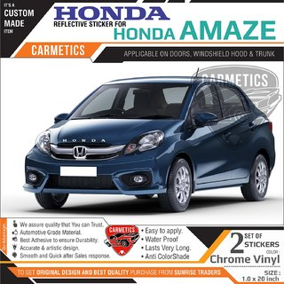 Honda Stickers for Honda Amaze - Chrome Vinyl 2Pcs - CarMetics