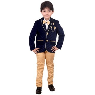 82a47bd7e Buy Boys Coat Blazer Suit with Shirt Pant and Bow Kids Wear by ...