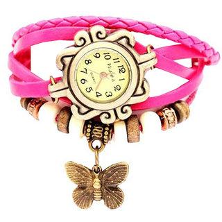 Vintage Bangle Bracelet cum Quartz Leather Watch Gift