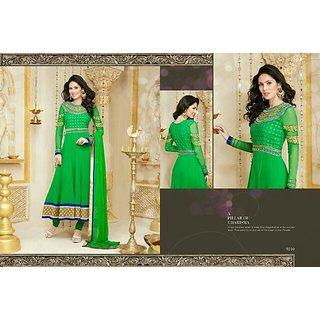 Parrot green colored elegant Georgette Anarkali
