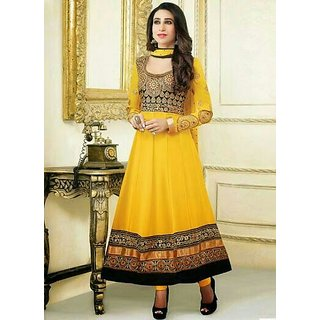 Yellow & Black Georgette Anarkali