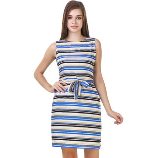 Multi Strip Fitted Sleeveless Dress