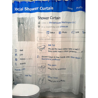 Style Maniac Polyester Blends White Blue Self Design Shower Curtain (180 cm in Height Single Curtain)