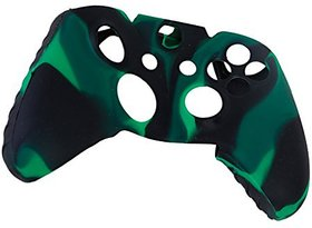 Generic Camo Soft Silicone Protective Skin Case Cover for XBOX ONE Game Controller--Green with Black