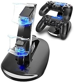 New Dual USB Charging Dock Station Stand For Playstation 4 PS4 Game Controller Black (Color Black) by Aausuerty