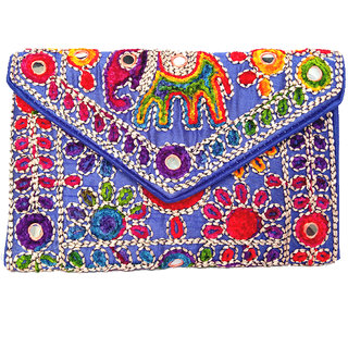 Exotic Collections Multi-Coloured Jaipuri Sling Bag Beautiful Embroidery Party Wear For Women's and Girls
