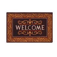 Zakina Brown Cotton Anti Skid Floor Door Mats- (12 x 18 inch) (Set of 1)