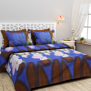 Heaven Decor Polycotton Floral Double Bedsheet with 2 Pillows