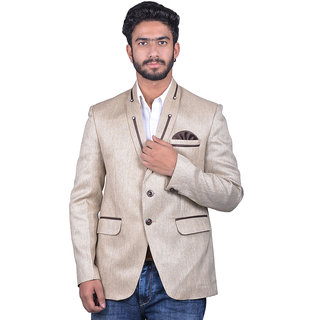 Snoby Regular Fit Jute Mix Fabric Grey Blazer