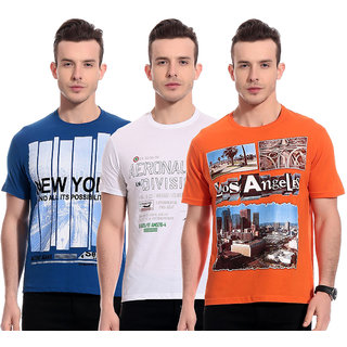 TAB91 Men's Cotton Printed T-Shirts - Pack of 3