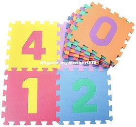 SHRIBOSSJI Playmat Foam Interlocking Puzzle Floor Mat Large Number Tiles 10 by 10 Square Blocks  (10 Pieces)