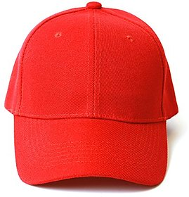 Red Colour Solid Plain Casual Cap