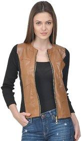 Raabta Broon Faux Leather Jacket