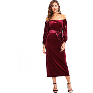 d2c9a0c4b971 Buy Aashish Garments - Maroon Off Shoulder Pearl Maxi Velvet Women Dress  Online   ₹899 from ShopClues