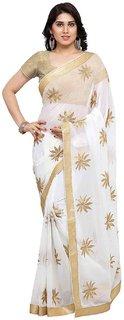 Styles ClosetOff White Chiffon Embroidery Saree